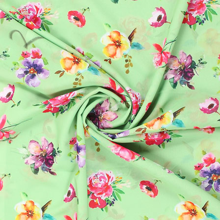 Green Pink and Purple Flower Georgette Silk Fabric-15089